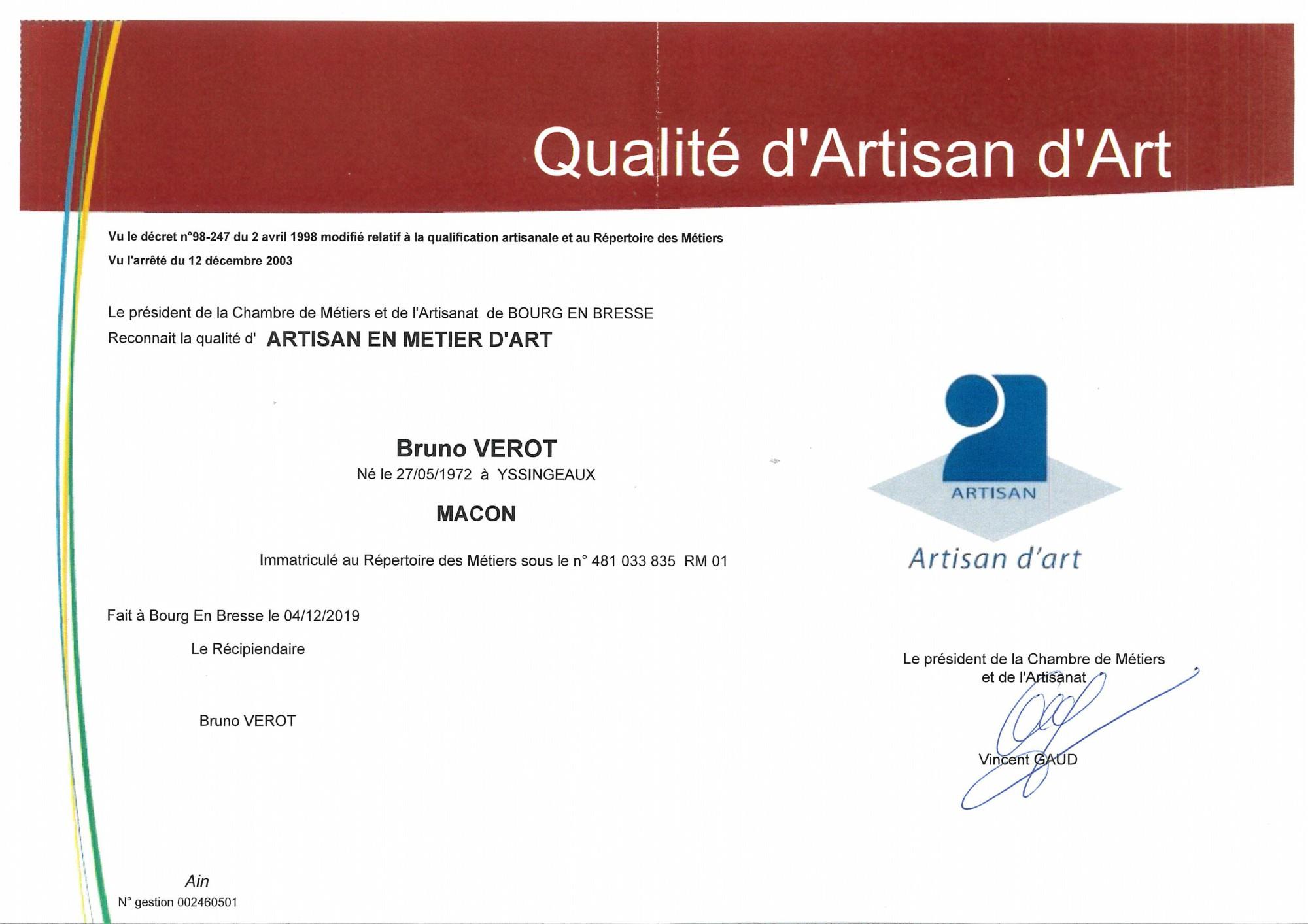 EURL Bruno VÉROT : Artisan d'Art